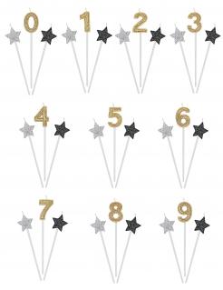 Geburtstagskerzen-Set Sterne und Zahl 3-teilig gold-silber-schwarz 16cm