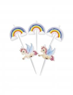 Einhorn-Kerzen mit Regenbogen und Wolken 5 Stück bunt 8cm