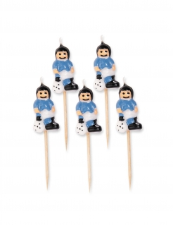 Fussball-Kerzen Kleine Fussballer 5 Stück weiss-blau 8 cm