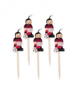 Fußballer-Kerzen Kuchendeko 5 Stück schwarz-rot-weiss 8 cm