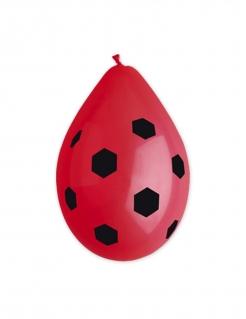 Party-Luftballons Marienkäfer-Motiv 10 Stück schwarz-rot 30cm