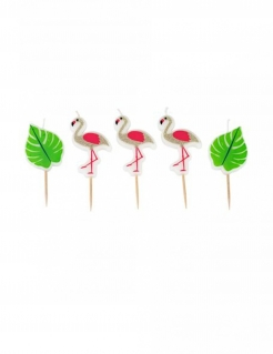 Flamingo-Kerzen Partydeko 5-teilig pink-grün 5,5cm x 3,5cm