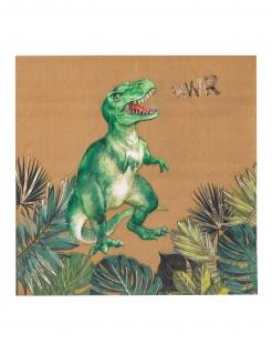 Dino-Servietten Papierservietten 16 Stück grün-braun 33 x 33 cm