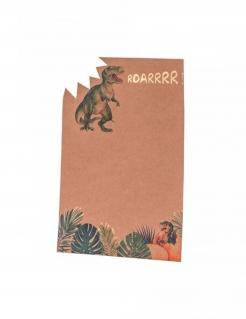 Einladungskarten Dinosaurier 8 Stück grün 18 x 12 cm