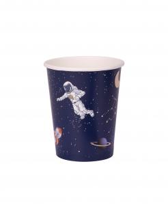 Astronauten Pappbecher 8 Stück bunt 250 ml
