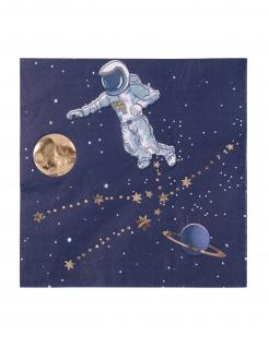 Astronauten-Papierservietten 16 Stück blau-weiss-gold 33 x 33 cm