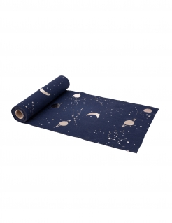 Weltall-Tischläufer Space-Deko blau-gold 5 m