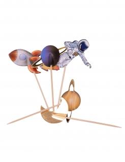Astronauten-Kuchendeko 20 Stück bunt 12,5 cm