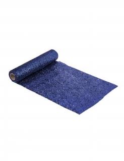 Glitzernder Tischläufer aus Kunststoff blau 3m