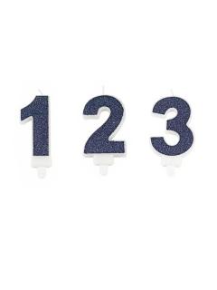 Zahlen-Geburtstagskerze blau 7,3 cm