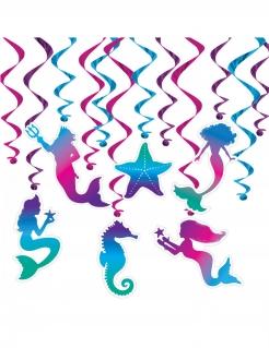 Meerjungfrau-Deko Spiralgirlanden 12 Stück blau-lila 43-76 cm