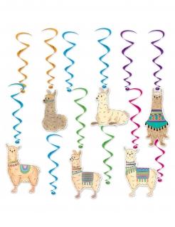 Lama-Spiralgirlanden Lama-Deko 12 teilig bunt 43-81cm