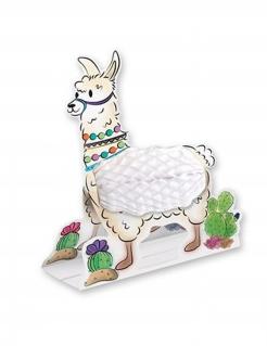 Lama-Tischdeko aus Papier Lama-Aufsteller weiss 28 cm