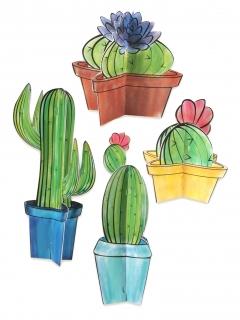 Kaktus-Tischdeko 4 Stück bunt 10 - 28 cm