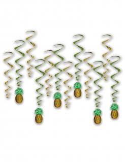 Spiralgirlanden Ananas Partydeko gold-grün 43 und 86 cm