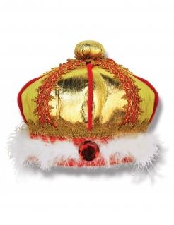 Gefiederte Krone Königskrone für Kinder gold-rot-weiss