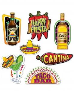 Mexiko-Pappausschnitte für Mottopartys 7-teilig bunt