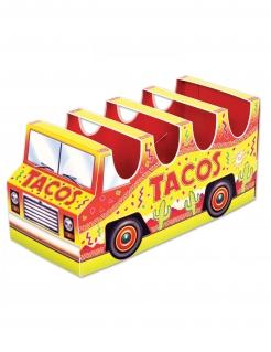 Tacos-Halterung Minibus aus Pappkarton bunt 12 x 25 cm