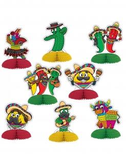 Mexikanische Tischaufsteller 8-teilig bunt 10 cm