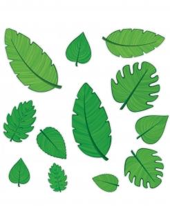 Tropische Deko-Blätter 12 Stück grün 10 - 30 cm