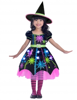 Spinnenhexe-Kostüm für Mädchen Halloween-Kostüm schwarz-bunt