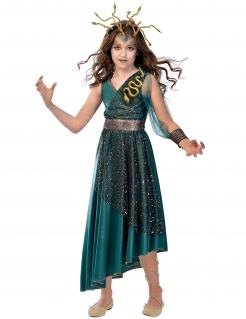 Medusa-Kostüm für Mädchen Halloween-Kostüm türkis-gold