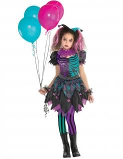 Extravagantes Harlekin-Kostüm für Mädchen Halloween-Kinderkostüm lila-schwarz-blau