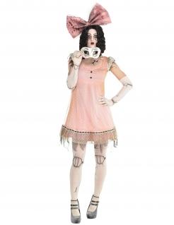 Schreckliches Puppenkostüm für Damen Halloween-Kostüm rosa-weiss