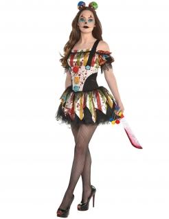 Horrorclown-Kostüm für Damen Halloween-Kostüm bunt