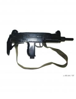 Maschinenpistole aus Kunststoff Spielzeugwaffe schwarz 48cm