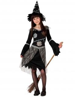 Schauriges Hexen-Kostüm für Mädchen Halloween-Kostüm schwarz-grau