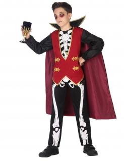 Skelett-Vampir-Kostüm für Jungen Halloween-Kostüm rot-schwarz-weiss