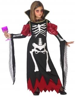 Skelett-Kleid für Mädchen Kinderkostüm für Halloween schwarz-rot-weiss