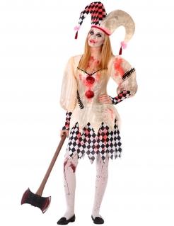 Blutige Harlekin-Dame Horror-Harlekin-Kostüm für Jugendliche beige-weiss-rot