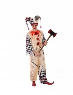Blutiger Harlekin Horror-Harlekin-Kostüm für Jugendliche beige-weiss-rot