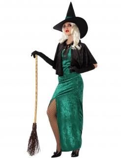 Hexe des Westens Damenkostüm Halloweenkostüm grün-schwarz