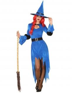 Nordhexe-Kostüm für Damen Halloween-Kostüm blau-schwarz