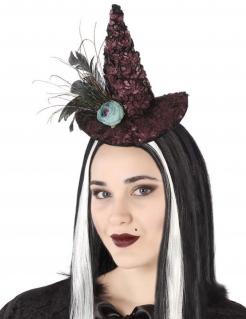 Halloween-Haarreif mit Hexenhut und Federn bordeaux-rot