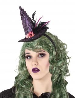 Halloween-Haarreif mit Hexenhut und Federn lila