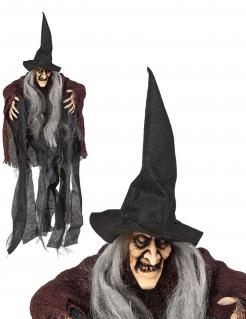 Hexen-Figur zum Aufhängen Halloween-Dekoration schwarz-braun-grau 50cm