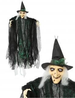 Nachtleuchtende Hexen-Puppe zum Aufhängen Halloween-Deko schwarz-grün 110cm