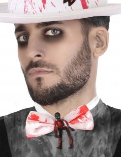 Blutige Fliege mit Skelett Halloween-Accessoire weiss-rot-schwarz