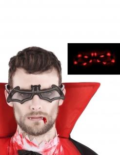 Leuchtende Fledermaus-Brille für Halloween Vampir-Accessoire schwarz-rot
