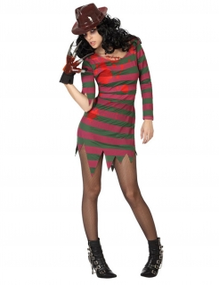 Serienmörderin Halloween-Damenkostüm rot-grau