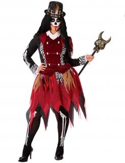 Voodoo-Kostüm für Damen Halloween-Kostüm für Damen schwarz-weiss