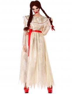 Horrorpuppen-Kostüm für Damen Halloween-Kostüm beige-rot