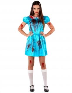 Besessene Hotelbesucherin Damenkostüm Halloween blau-rot-weiss