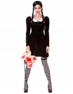 Gothic-Schülerin Damenkostüm Halloween schwarz-weiss