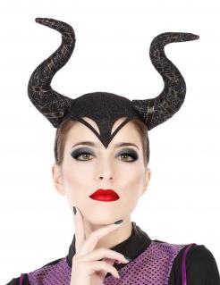 Gehörnter Haarreif für Hexen-Kostüm Märchen-Haarreif schwarz