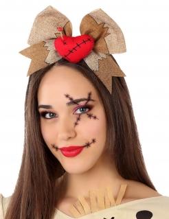 Voodoo-Haarreif mit Herz und Schleife für Halloween braun-rot